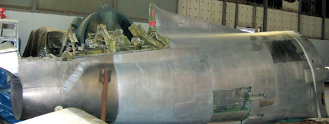 Fuselage of F-86 under reconstruction